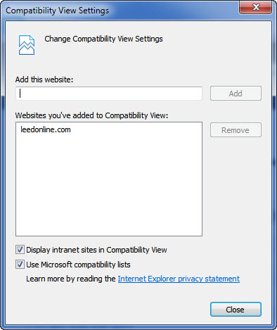 LEEDv4 Compatibility Mode internet explorer