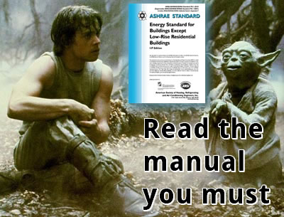 Yoda and Luke Looking at ASHRAE Manual