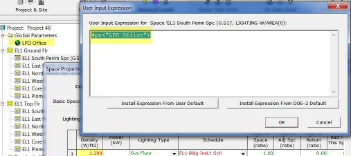 LPD Global Parameter user Expression Example